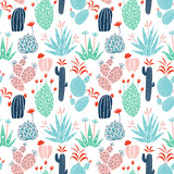 Cactuses vector seamless pattern - 177738144