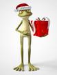 3D rendering of cartoon frog wearing Santa hat.