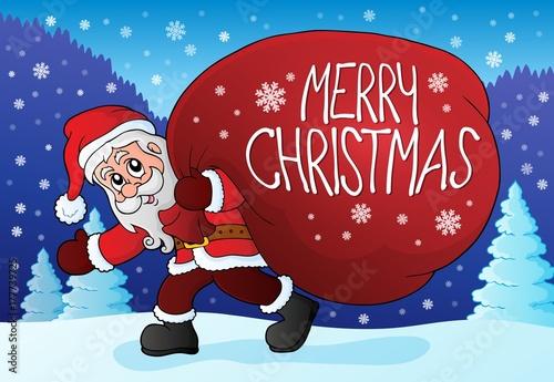 Papiers peints Enfants Santa Claus with big gift bag theme 4