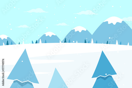 Staande foto Lichtblauw Winter Landscape with Mountains and Pine Tree. Flat Design Style.