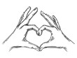 Hands making heart sign engraving vector