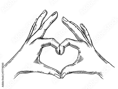 Hands making heart sign engraving vector - 177741560