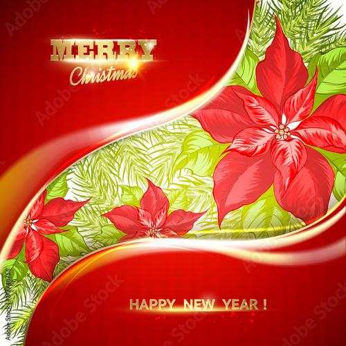 Foto op Canvas Baksteen Christmas card with poinsettia christmas star. Vector illustration.