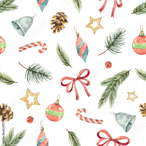Cotton fabric Watercolor vector Christmas seamless pattern with fir branches, gifts and cones.