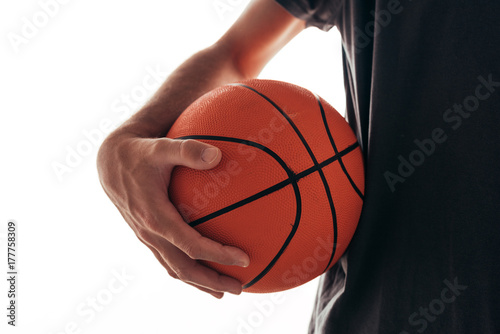 Plexiglas Basketbal Basketball training, man holding ball