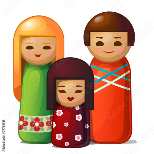 Japanese doll - woman, man and child. Asian family toys. Vector Illustration in cartoon style isolated on white background - 177758761