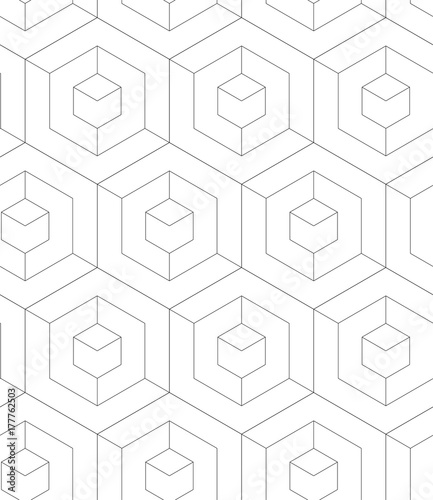 REGULAR GEOMETRIC SEAMLESS VECTOR PATTERN. MODERN STYLIST TEXTURE WITH MONOCHROME TRELLIS. REPEAT GRID BACKGROUND - 177762503