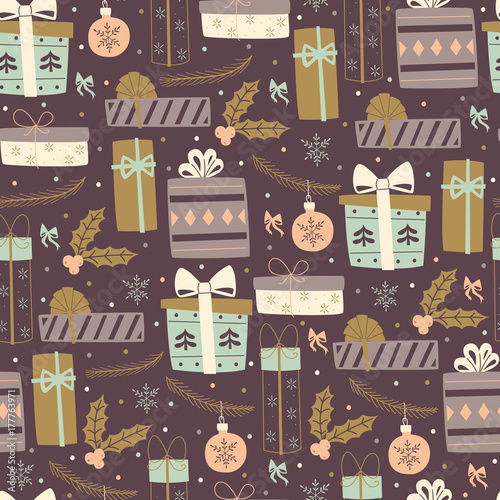 Cotton fabric Seamless Pattern with Gift Boxes.