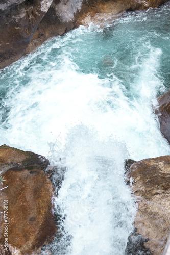 Fotobehang Bergrivier Water rapids. Mountain river, forest green rapid waterfall.