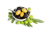 Black and green  olives  mixed in the  porcelain bowl isolated on white background - 177771510