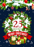 Merry Christmas Holiday  Gifts Greeting Card Wall Sticker