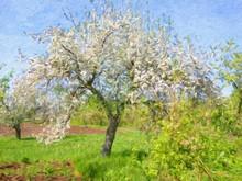 "Постер, картина, фотообои ""Spring landscape, oil paintings, art"""