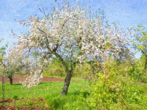 Spring landscape, oil paintings, art © yaroslavartist