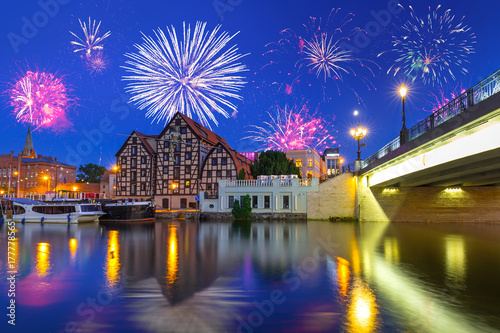 New Years firework display in Bydgoszcz city over Brda river, Poland