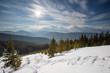 Beautiful landscape of winter Carpathian mountains
