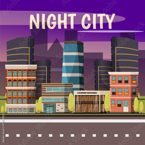 Foto op Canvas Violet Night City Background