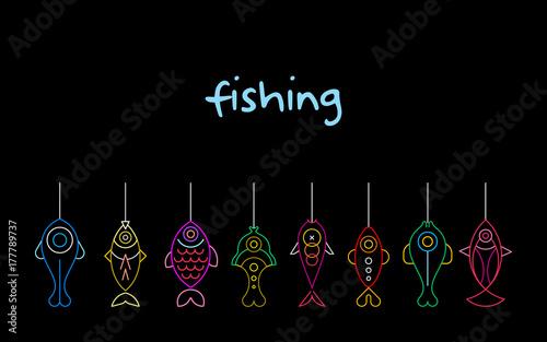 Foto op Plexiglas Abstractie Art Fishing