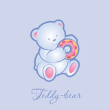 Teddy bear with donut. Illustration.