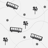 Seamless vector pattern with bus
