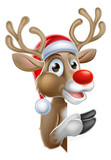 Santa Hat Reindeer Pointing From Behind Sign Wall Sticker