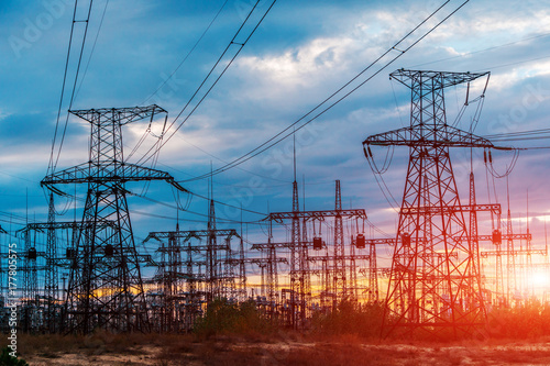 distribution electric substation with power lines and transformers Poster