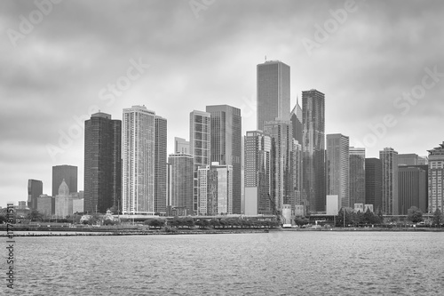 Fotobehang Chicago Black and white picture of Chicago waterfront, USA