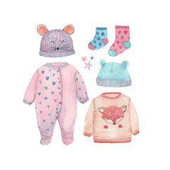 A set of baby clothes painted in watercolor: romper suit, socks, cute hats and a little sweater.