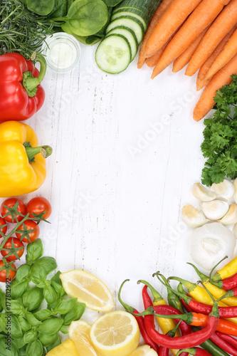 Poster Gemüse Sammlung Tomaten Karotten kochen Zutaten Hochformat Hintergrund von oben