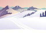 Zimowy pejzaż w górach, ślady po nartach, ilustracja wektorowa