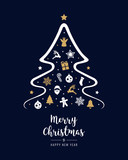 merry christmas tree elements greeting text card golden blue background