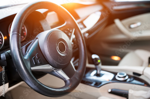 Foto op Canvas Snelle auto s Interior view of car with luxery beige salon