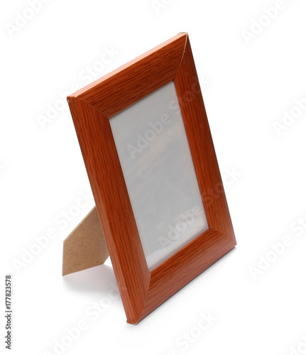Old wooden frame isolated on white background