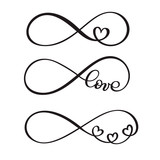 set of word LOVE original custom hand lettering, handmade calligraphy, design with elements of the flourish heart, Valentine and infinity