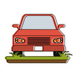 red parked car on grass icon image vector illustration design