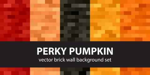 Rectangle pattern set Perky Pumpkin. Vector seamless brick wall backgrounds © Olga