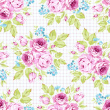Seamless floral pattern with pink roses and flowering branche - 177833771