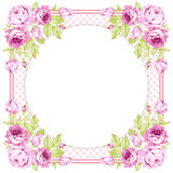 Floral round Greeting card with pink roses - 177833790