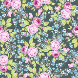 Seamless floral pattern with pink roses and flowering branche - 177833794