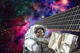 Cosmonaut works outside the International Space Station. Elements of this image furnished by NASA. - 177841176
