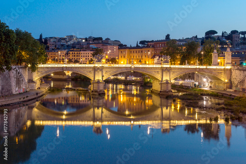 Amazing Sunset view of Tiber River in city of Rome, Italy Poster