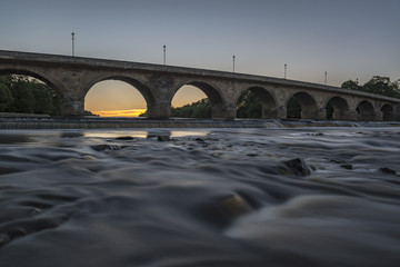 Hexham Bridge at sunset, northumberland