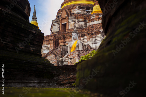 Foto op Plexiglas Bangkok buddha statue in wat yai chai mongkol ayutthaya world heritage site of unesco thailand