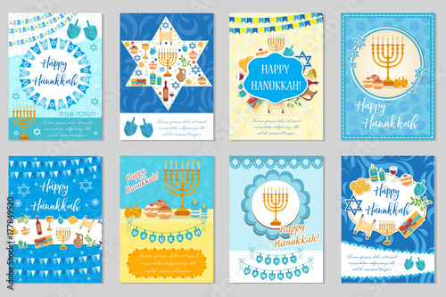 Happy Hanukkah set of greeting cards, flyer, poster. Hanukkah collection of templates for your invitation design. With menorah, sufganiyot, bunting, dreidel. Jewish holiday. Vector illustration © Amelie
