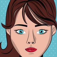 Woman pop art icon vector illustration graphic design