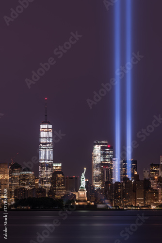 Tribute in Light with Freedom Tower and Statue of Liberty Poster