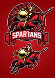 spartan warrior riding horse mascot