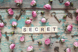 Word secret with vintage keys and small pink roses on old wooden background.