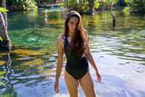 Beautiful teen girl in cenote of Riviera Maya - 177873957