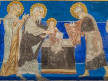 "Постер, картина, фотообои ""The presentation in the temple, a Romanesque fresco"""