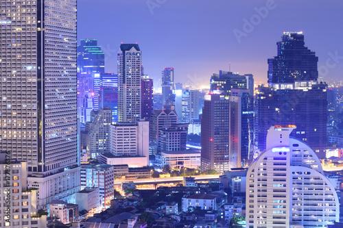 Density of building in Bangkok at night. Poster